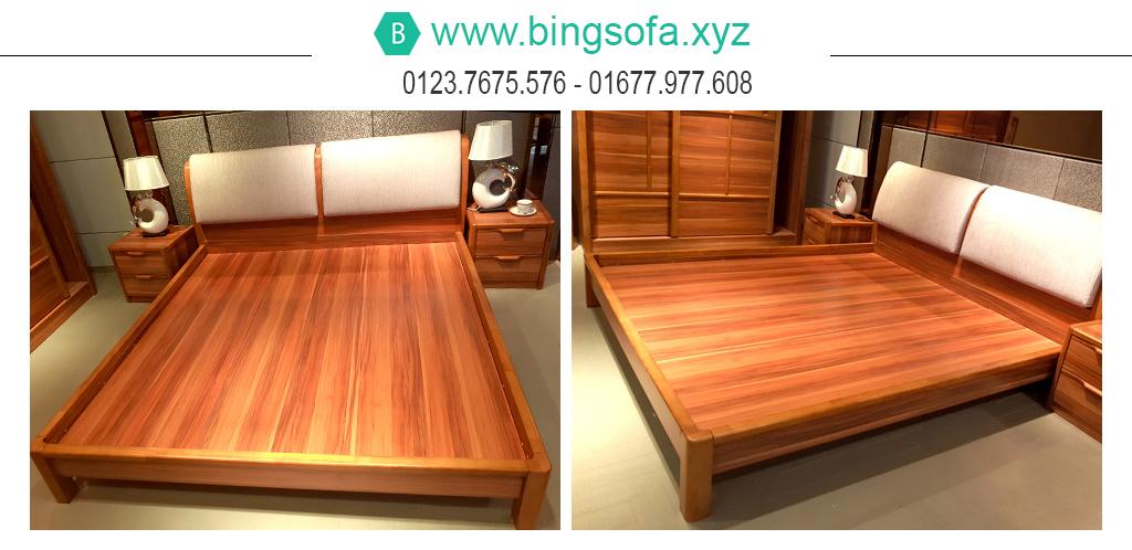 Giường gỗ bọc nệm đầu giường GN12