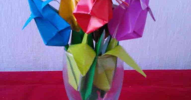 Cara Mudah Membuat Origami Bunga Tulip | Kreasi Ceria