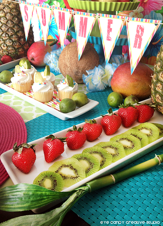 summer luau, tropical fruit, summer penant banner, free summer printables