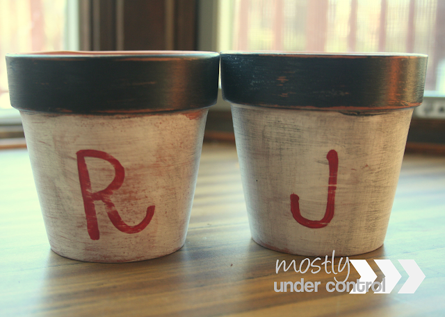 2 DIY rustic clay pots ready for planting