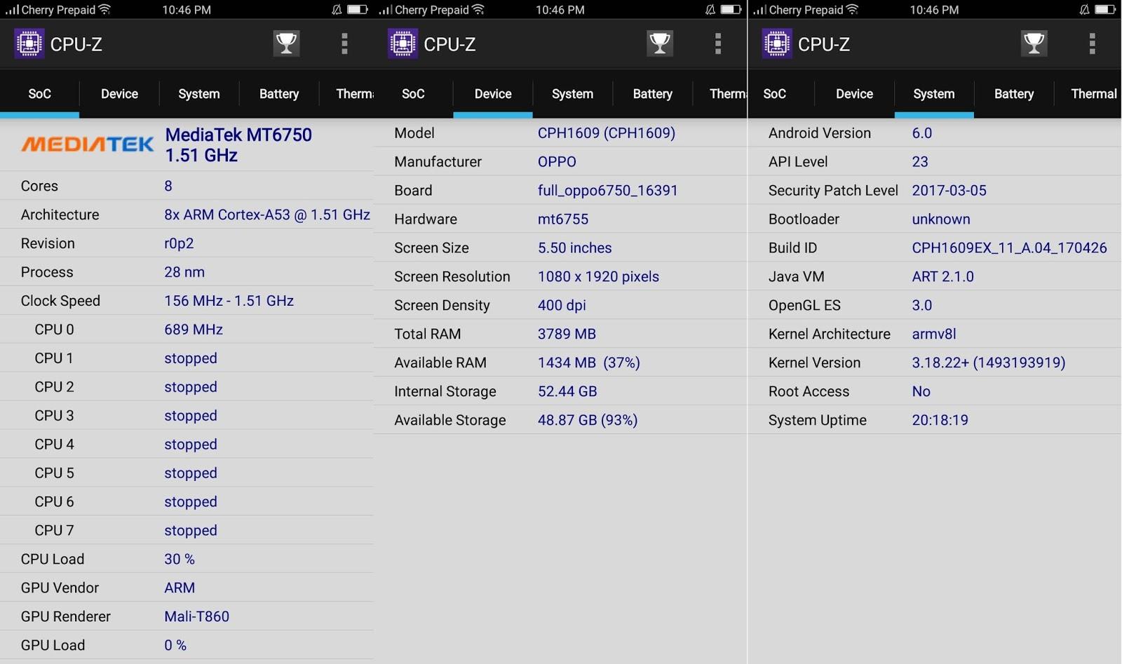 OPPO F3 CPU-Z Information