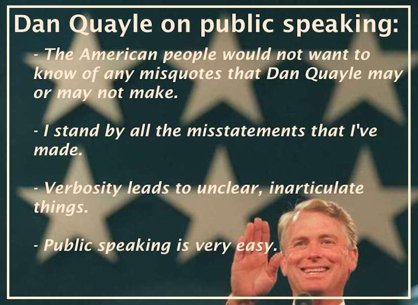 Dan Quayle, Vice President performs a microphone check at the 1996 Republican National Convention in San Diego. (Los Angeles Times)