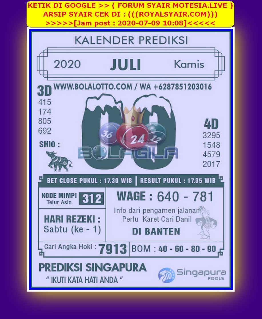 Kode syair Singapore Kamis 9 Juli 2020 137
