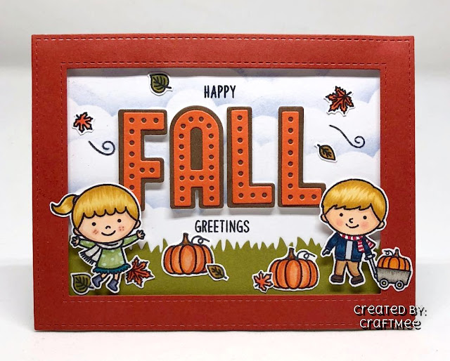 Sunny Studio Stamps: Fall Kiddos Customer Card by Crafteeme