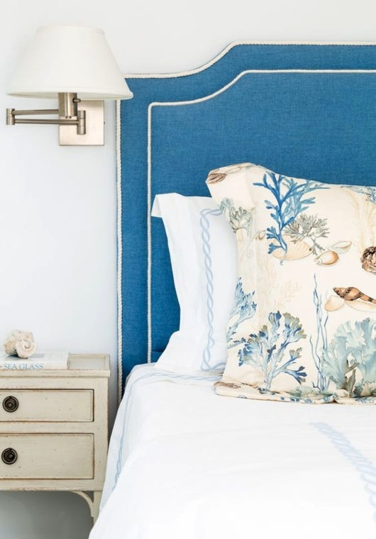 Blue Upholstered Headboard for Coastal Living
