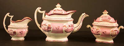 Teddy Roosevelt pink lusterware tea service purchased at Sagamore Hill, New York