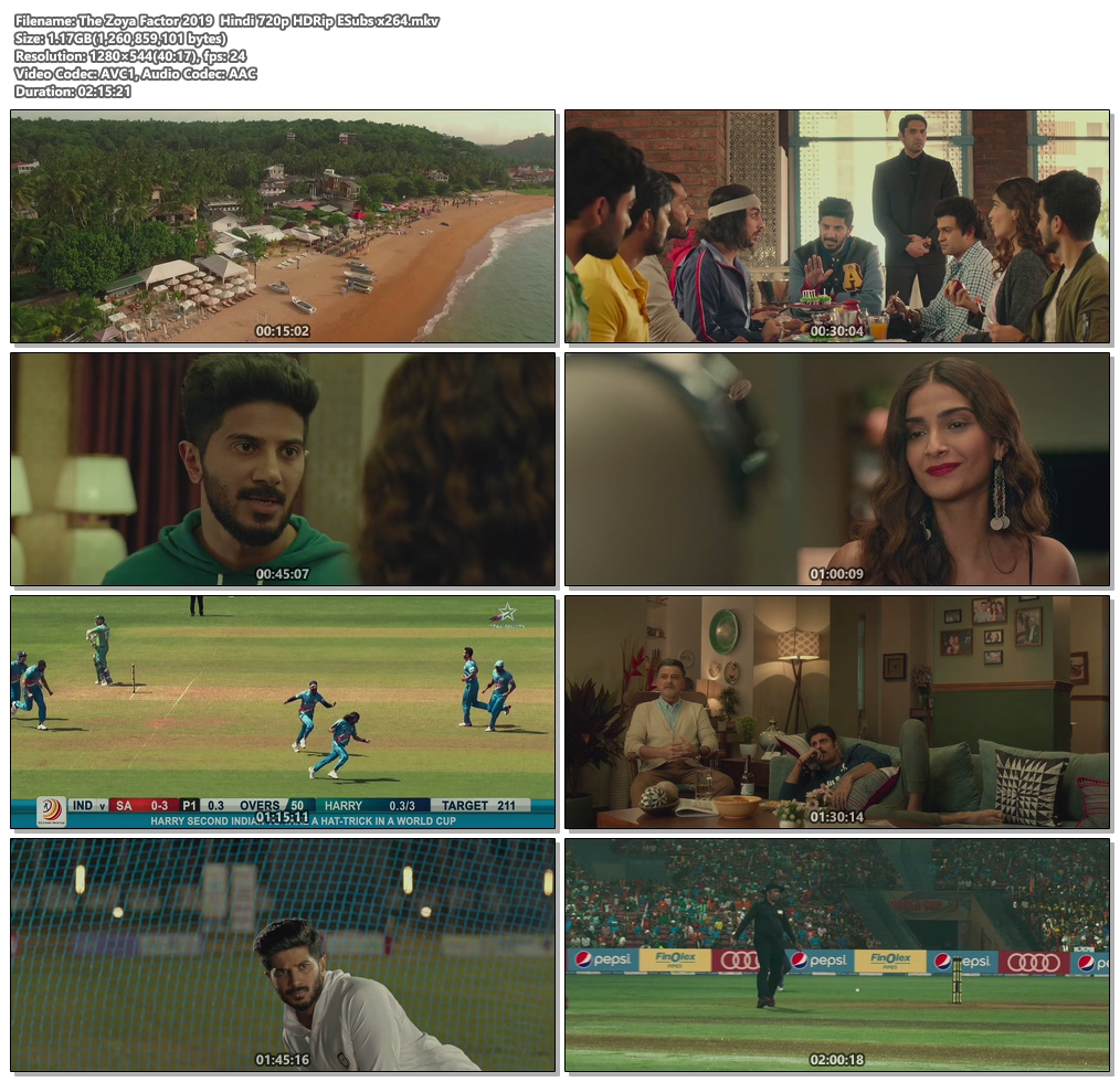 The Zoya Factor 2019 Hindi 720p HDRip ESubs x264 | 480p 300MB | 100MB HEVC Screenshot