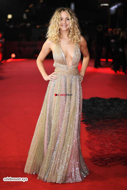 Jennifer Lawrence in a golde glittering gown at Red Sparrow Premiere in London ~  Exclusive Galleries 001.jpg