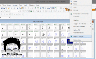 Klik kanan pada huruf yang ingin di edit, klik Import Image