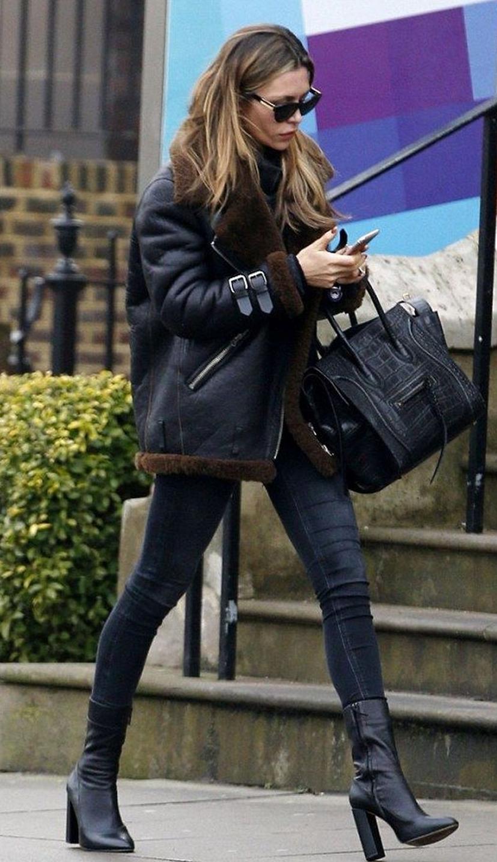 black on black | leather jacket + bag + sweater + skinnies + boots