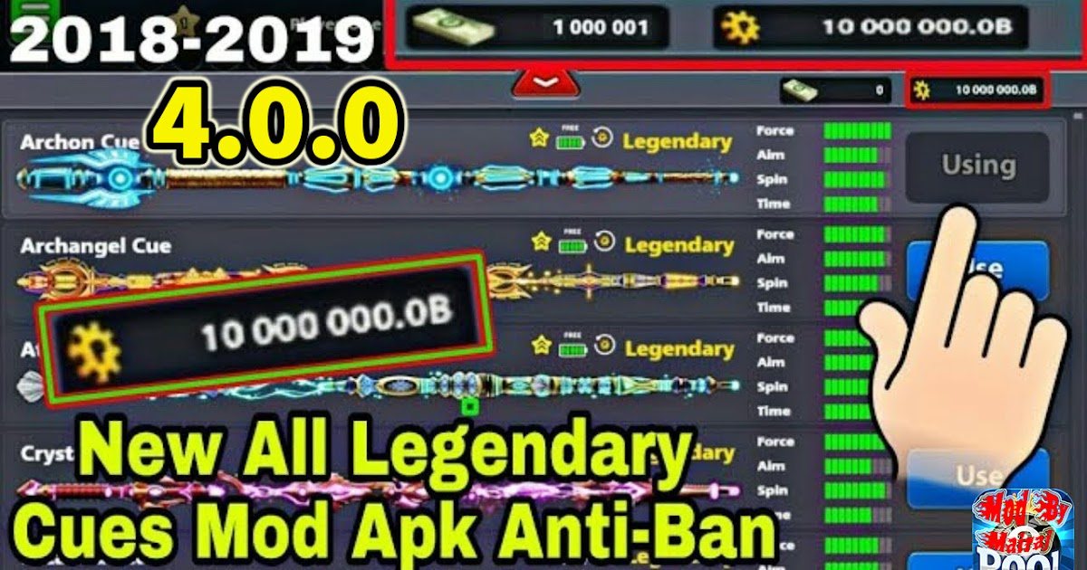 mod apk 8 ball pool legendary cue