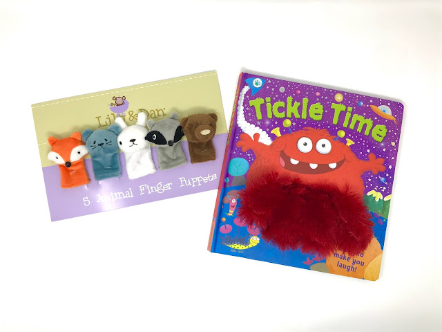 Lily & Dan 5 Animal Finger Puppers in fox, mouse, rabbit, racoon and bear and a tickle time book