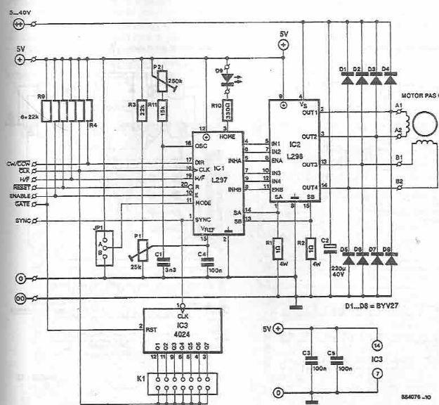 Schéma de câblage pour le moteur pas à pas