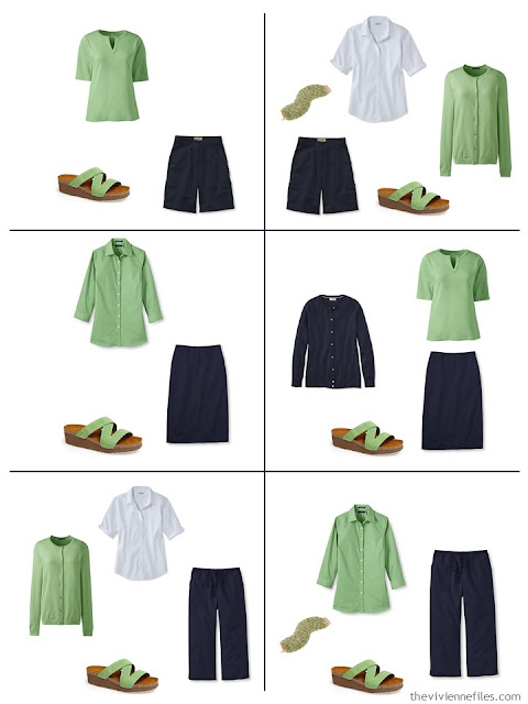 six ways to wear greenery with navy and white