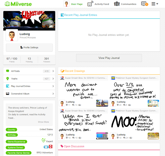 Web version Miiverse user page profile redesign