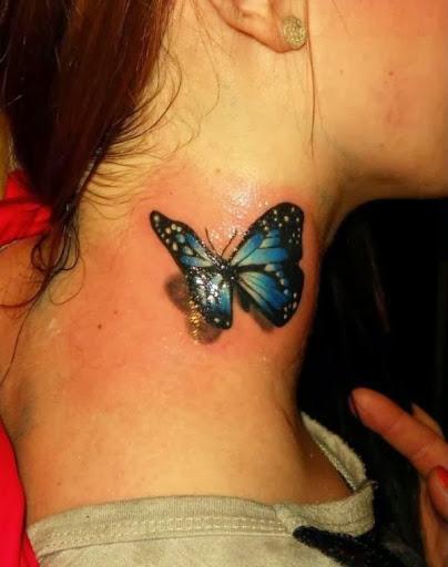 Borboleta 3D desenho de tatuagem no pescoço