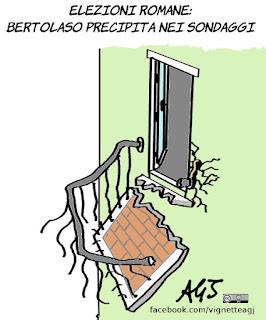 bertolaso, elezioni romane, sondaggi, balconi, satira, vignetta