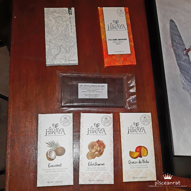Hiraya X Kalsada 72% Dark Chocolate with Coffee Nibs Single Origin,72% Single-Origin Dark Chocolate Bar, 100% Pure Chocolate Bar, they now also offer the flavors Coconut, Chicharon and Queso de Bola!