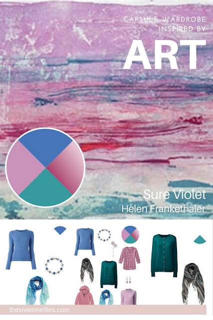 French 5-Piece wardrobe in blue, lilac, rose and teal inspired by art - Sure Violet by Helen Frankethaler