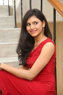 Mounika Telugu Actress in Red Sleeveless Dress Black Boots Spicy Pics 052.JPG