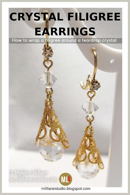 Crystal and gold filigree earrings