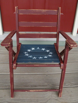 flag chair, red blue and white chair,