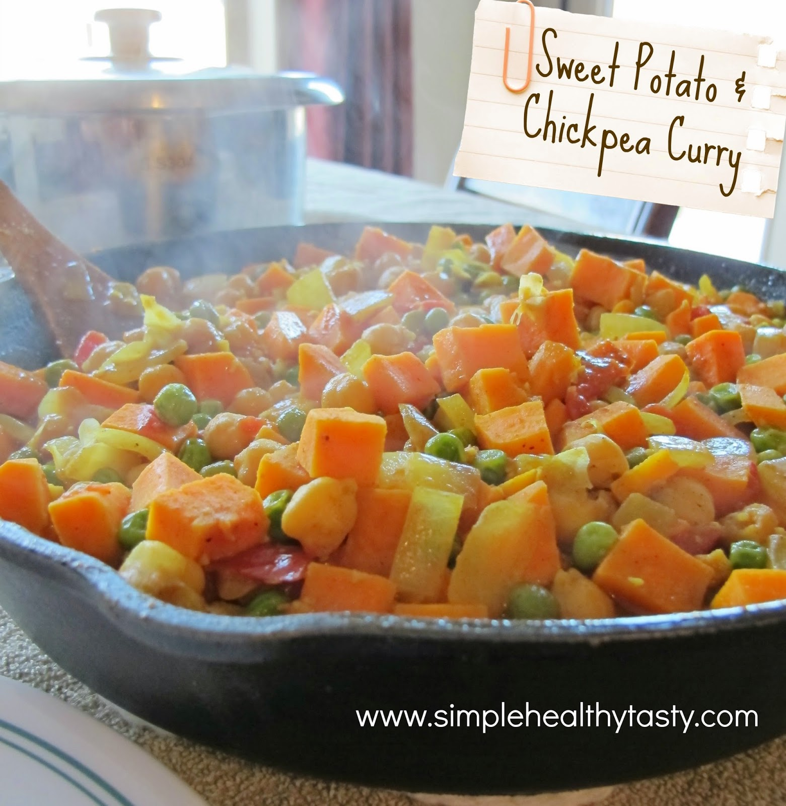 Sweet Potatoes, Chickpeas, Curry Dish