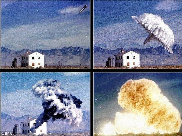 Image Attribute: U.S. Army's Fuel-Air Explosive (FAE II) Delivery Sequence is a basic example of a thermobaric explosion / Source: EPA