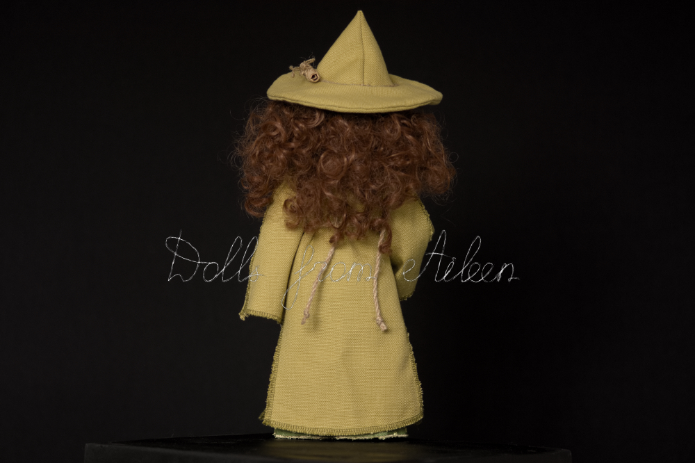 OOAK Celtic witch doll dressed in green with magic staff, view from behind
