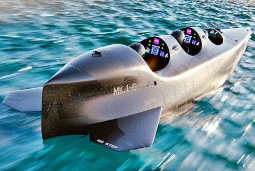 Tinuku Electric jet Ortega Submersible MK. 1C for three riders and MK. 1B for two riders to dive under ocean