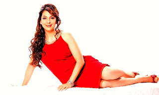 Juhi Chawla Hot Legs In Red Outfit On Floor