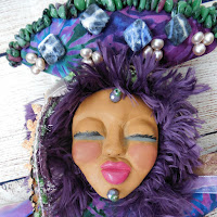 Detailed View of Original Sculpted Clay Face on OOAK Dancer Art Doll