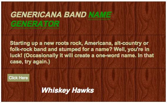 Farce the Music: Americana Band Name Generator