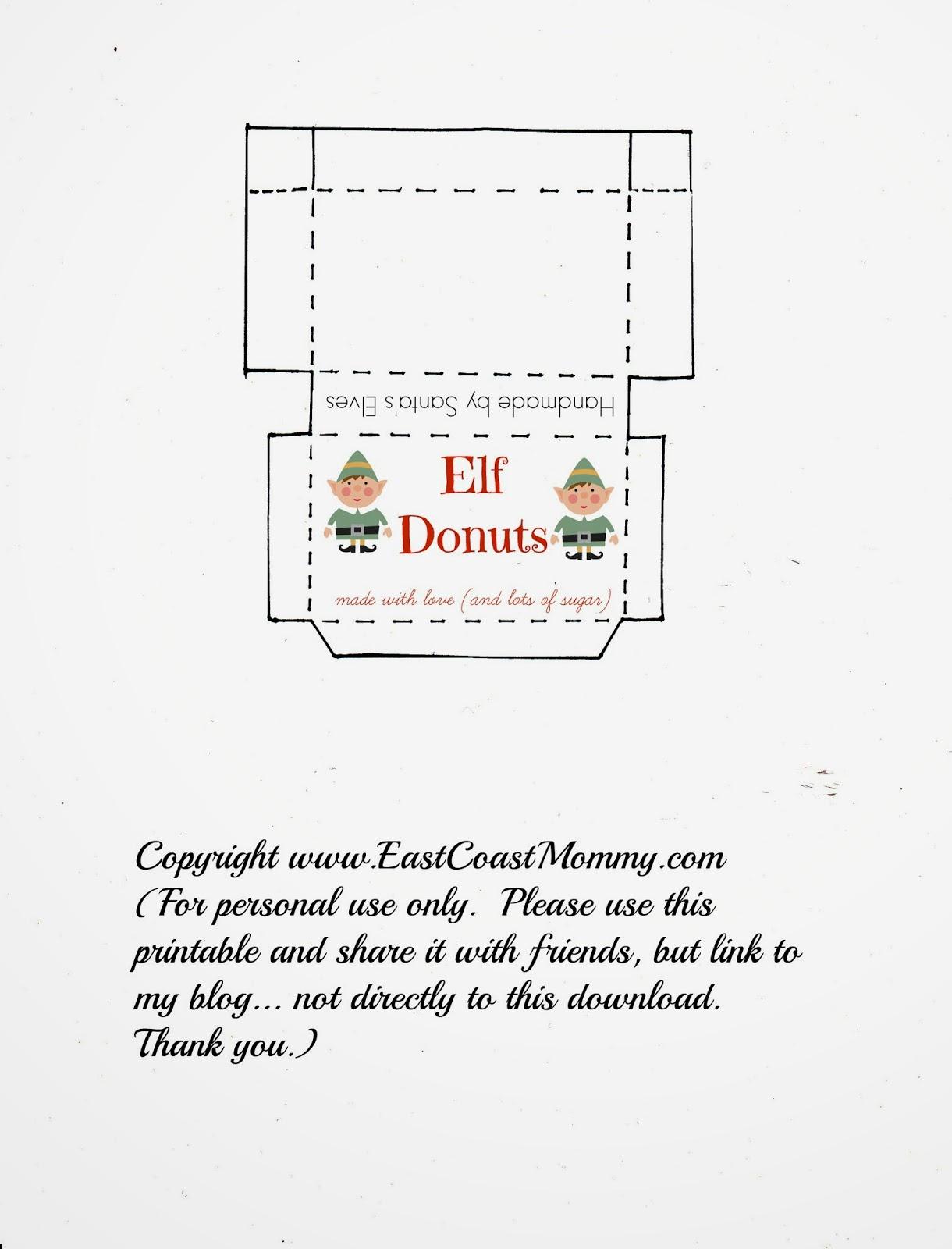 East Coast Mommy Elf On The Shelf Donuts Free Printable Box