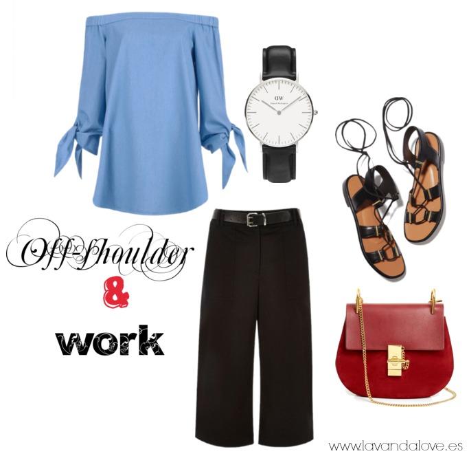 escote bardot camisa azul sin hombros para ir a la oficina