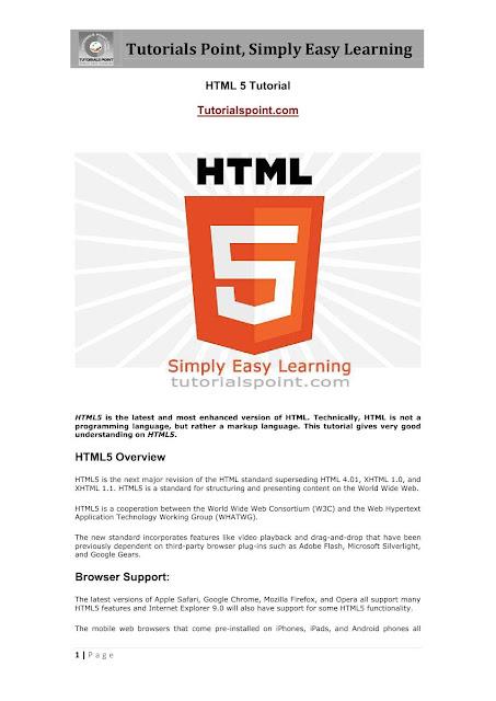 HTML 5 Tutorials Point Download PDF eBook