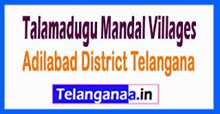Talamadugu Mandal and Villages in Adilabad District Telangana