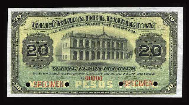World paper money Paraguay Currency 20 Peso banknote bill