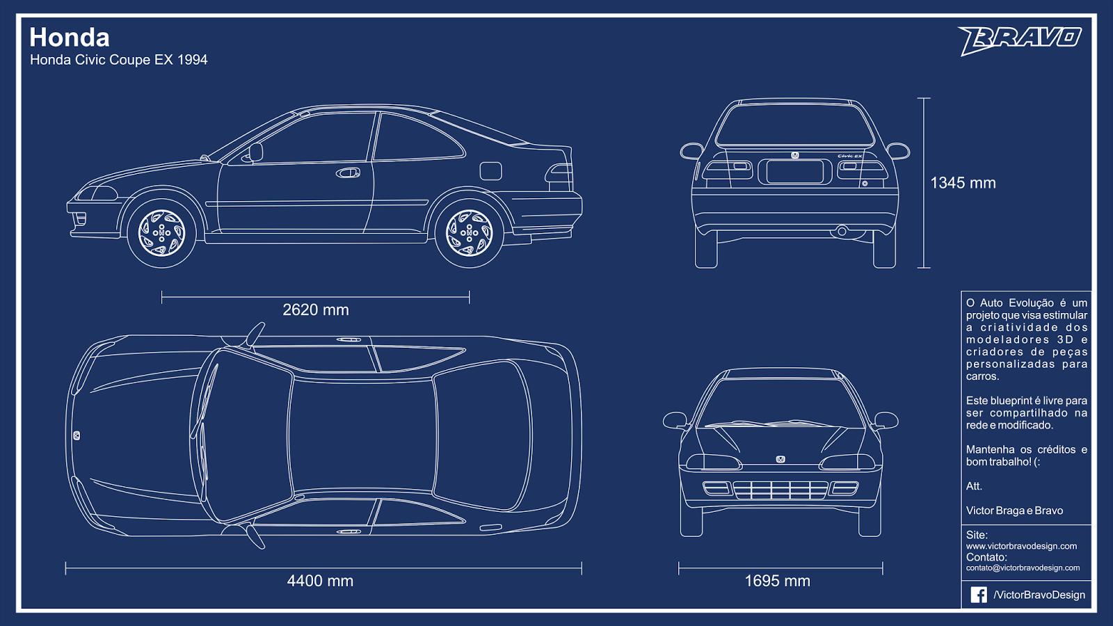 Imagem mostrando o desenho do blueprint do Honda Civic Coupe EX 1994