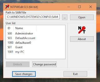 Cách đổi hoặc xóa mật khẩu tài khoản bằng NTPWEdit trong Win PE