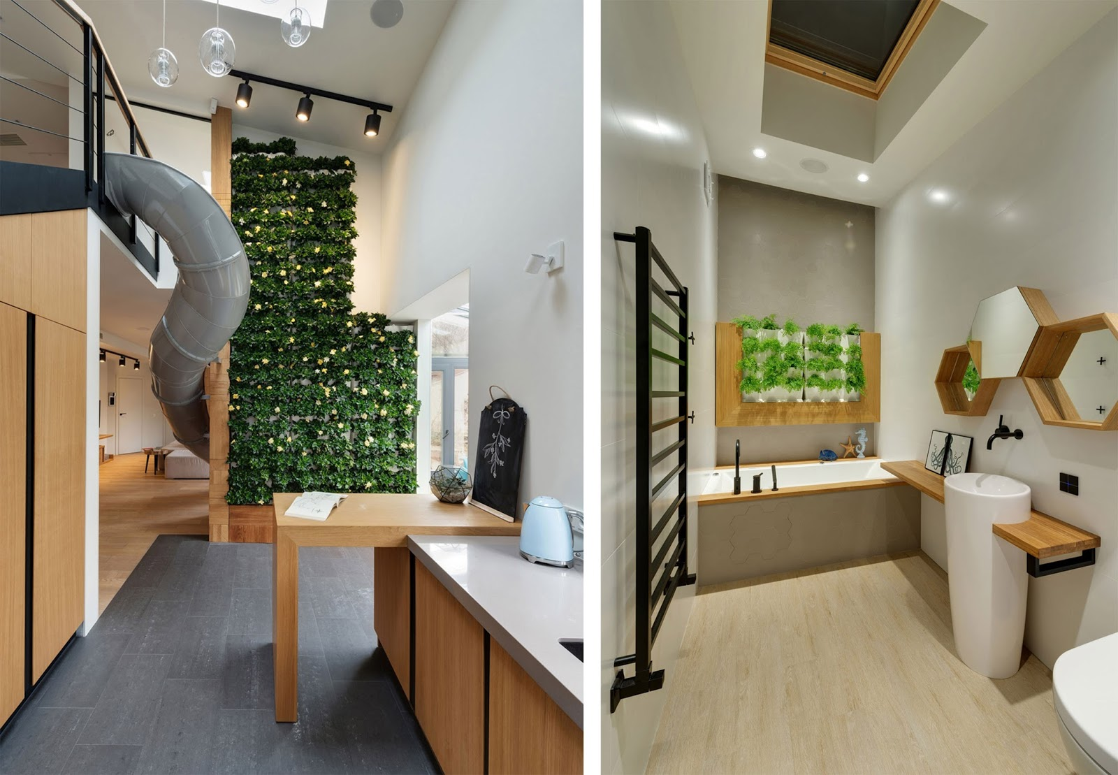 Casa con scivolo interno e parete verde a Kiev by KI Design  ARC ART blog by Daniele Drigo