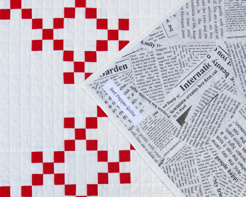 Red and White Double Irish Chain Quilt - backing fabric | © Red Pepper Quilts 2017