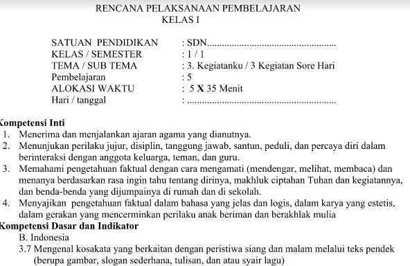 RPP Kurikulum 2013 Kelas 1 Revisi 2016 Tema 3 Subtema 3 Pembelajaran 5 Terbaru