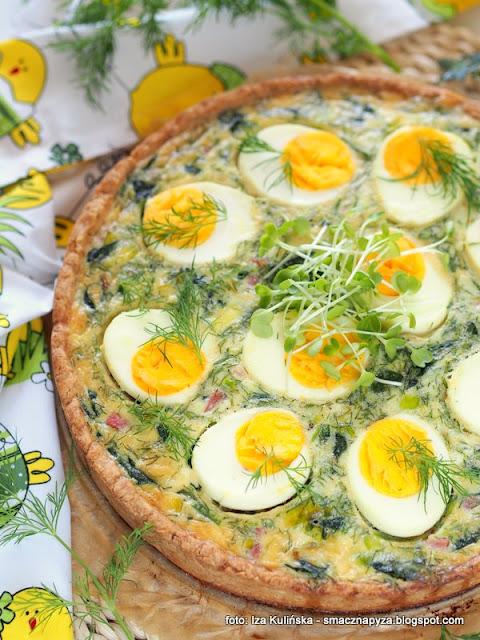quiche z jajkami i szpinakiem, placek z farszem jajeczno szpinakowym, tarta wytrawna, obiad, sniadanie wielkanocne, wielkanocne przepisy, jajka, szpinak