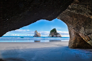 Archway Islands from cave - Wharariki beach