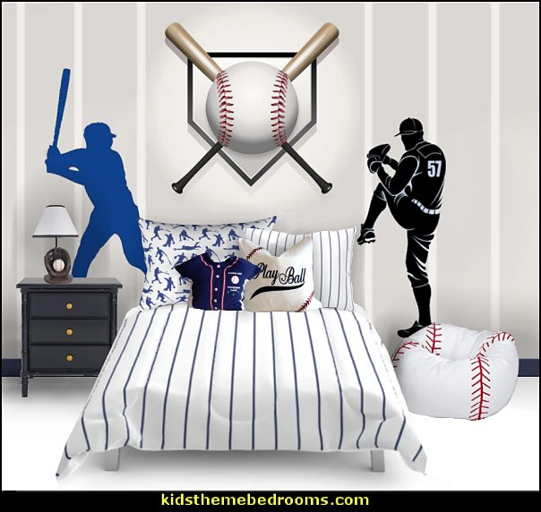 baseball bedroom decorating ideas - baseball bedroom decor - boys baseball theme bedrooms - Baseball Room Decor - baseball wall murals - baseball wall decals - Home Run Dugout Bed themed baseball bed - baseball bat headboard
