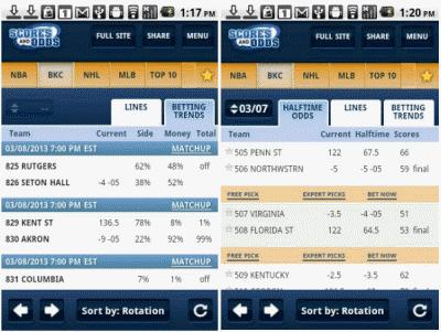 scoresandodds mobile app