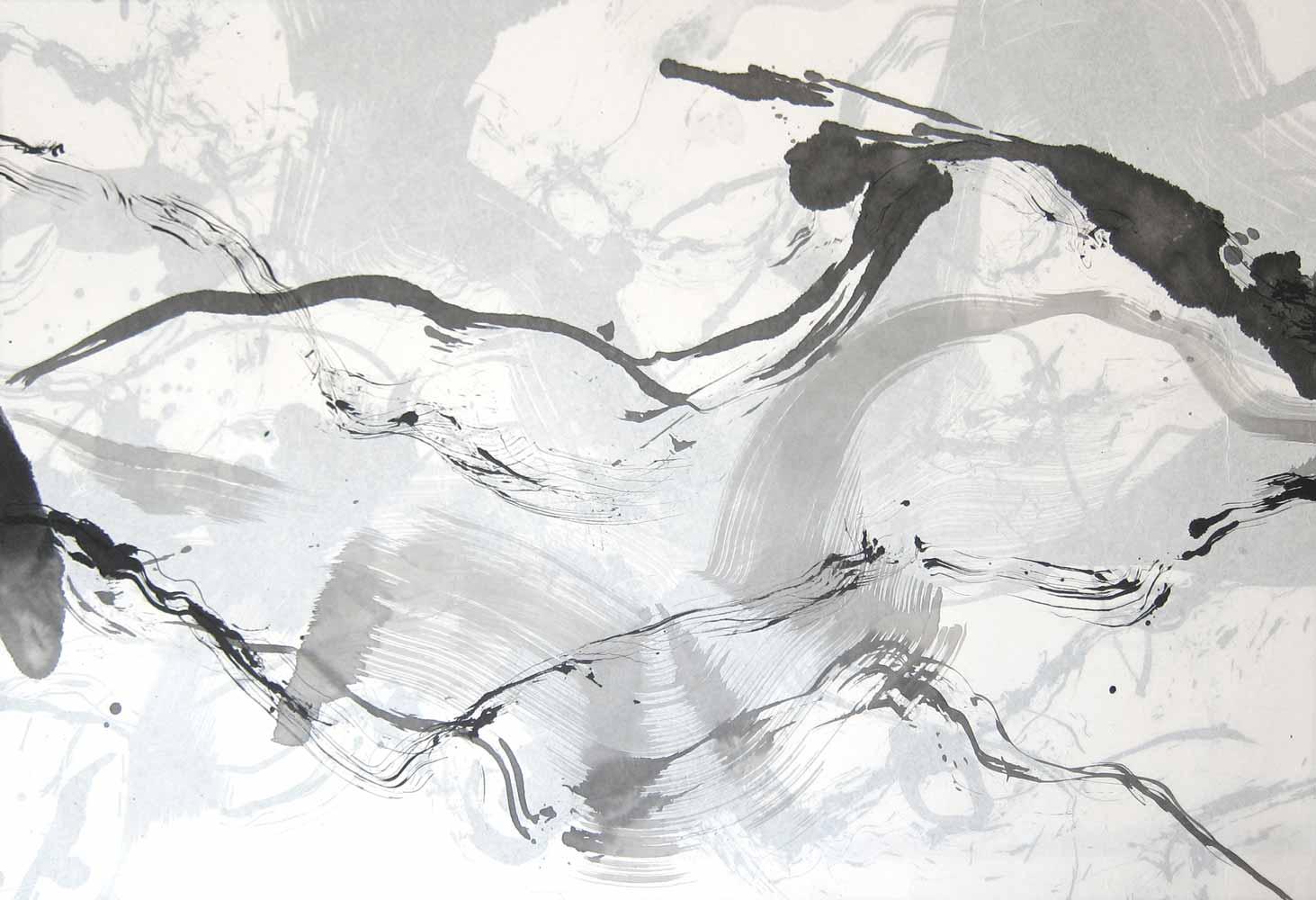 Encre de Chine, lavis et graphite sur papier de soie marouflé sur papier de soie, réversible, 65 x 95 cm, 20 avr. 18  - © Annik Reymond