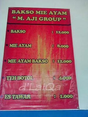 daftar menu dan harga