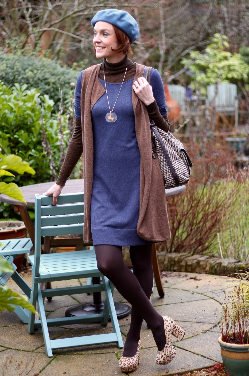 Cosy cashmere waistcoat | Layered dresses | |Leopard shoes and a beret